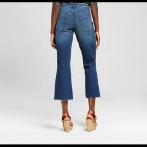 High Rise Flare Crop Super Stretch Raw Hem Jeans